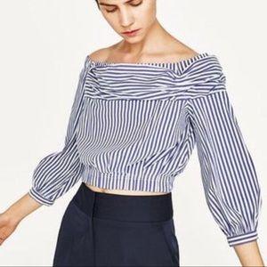 Zara Striped cropped top